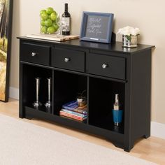 Broadway Black Living Room Console   Overstock.com Shopping - The Best Deals on Coffee, Sofa & End Tables
