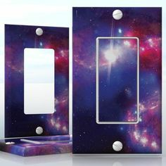 DIY Do It Yourself Home Decor - Easy to apply wall plate wraps | Beautiful Purple Nebula  Colorful image of space, beautiful universe picture.  wallplate skin sticker for 1 Gang Decora LightSwitch | On SALE now only $3.95
