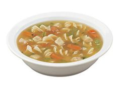The Classic #Chicken #Noodle #Soup is a taste of seasoned chicken broth full of diced chicken, large spiral noodles, #carrots and #celery.