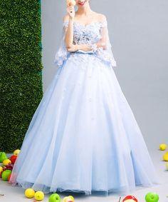 Blue Floral Silk Off-Shoulder Gown #zulily #zulilyfinds
