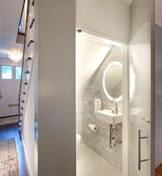 Downstairs Toilet Simple Ways To Add A Half Bathroom (And What To Consider Before You Start) Your Ti Bathroom Under Stairs, Small Basement Bathroom, Add A Bathroom, Modern White Bathroom, Downstairs Toilet, Bathroom Layout, Bathroom Interior, Bathroom Designs, Toilet Under Stairs