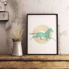 Horse Mint and Gold Retro Print by InogitnaDesigns. A print that will help you create a sophisticated feel in your home!