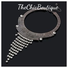 Stylish and beautiful dark grey choker with long crystal tassles.  Fast and free shipping | Shop this product here: http://spreesy.com/TheChicBoutique/55 | Shop all of our products at http://spreesy.com/TheChicBoutique    | Pinterest selling powered by Spreesy.com