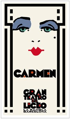 Poster design for the Bizet opera 'Carmen' at the Gran Teatro Del Liceo, Barcelona, by Bill Philpot. Unpublished Art Deco Posters, Vintage Posters, Poster Prints, Opera, Original Artwork, Barcelona, Graphic Design, Live, Outfit