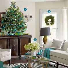Make a festive room. Ever think of having a blue Christmas? Or an ivory one? Maybe even gold. Design gurus Eddie Ross and Jaithan Kochar rewrite the rules of holiday decorating at their Connecticut home. By Melinda Page