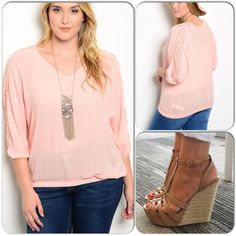 Peach Lace Accented Top This pretty pheasant top features rounded neckline, elastic hem, and lace panel on quarter sleeves. 100% Rayón. ❌Shoes n/a❌ (This closet does not trade or use PayPal) Nunca digas nunca Tops Blouses