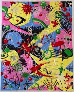 """Original serigraph by graffiti artist Kenny Scharf. An explosion of imagination and color. Signed undated 1997. 34.75"""" x 43.25"""" unframed."""