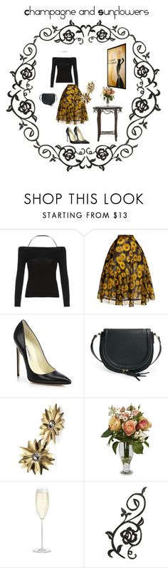 """""""Champagne and Sunflowers"""" by jostockton ❤ liked on Polyvore featuring Delpozo, Brian Atwood, Sole Society, Futuro Remoto, Nearly Natural, Crate and Barrel and MARBELLA"""
