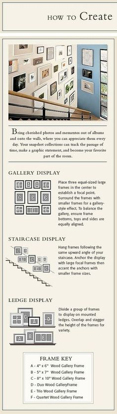 Photo arrangements for gallery display, staircase display, or ledge display.