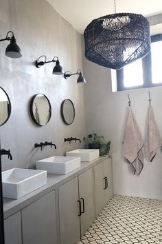 A sophisticated French house renovated by La Maison Poetique Grey Bathroom Floor, Laundry In Bathroom, Bathroom Flooring, Neutral Bathroom, Budget Bathroom, Bathroom Ideas, Bathroom Shelf Decor, Small Bathroom Storage, Bathroom Organisation