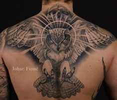 http://tattooideas247.com/owl/ Owl & Skull Back Tattoo #Back, #Evil, #Flying, #JohanFinné, #Owl, #Scary, #Skull, #Talons