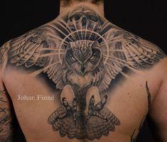 http://tattooideas247.com/owl/ Owl & Skull Back Tattoo #Back, #Evil, #Flying, #JohanFinné, #Owl, #Scary, #Skull, #Talons