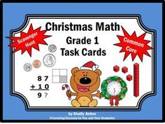 Christmas Math Task Cards - Here are 30 fun Christmas math task cards for 1st grade. Christmas skills include addition, subtraction, time, money, fractions, patterns, number sequence, place value and more! You will also receive a student response form and answer key.   There are so many uses for these Christmas task cards, including: Christmas math centers,  Christmas math group work Christmas math board game Christmas math SCOOT Christmas math SCATTER, or a  Christmas math scavenger hunt!