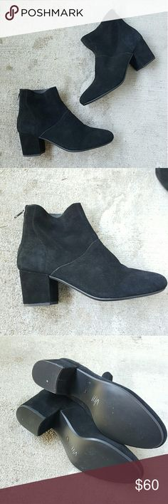 Steve Madden black booties Basic, simple black suede booties with zippers. Slight pointed toe and small heel. Boots are in great condition, only worn once! Still have a rich smell of leather/suede. Size 9M. Super chic, minimalist ankle boots, high rise!!  Open to offers!  Every purchase comes with a free makeup gift!! Steve Madden Shoes Ankle Boots & Booties