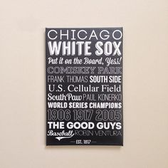 Chicago White Sox Canvas Art Graphic Design Typography Gift Chicago Father's Day Source by typeleaguepress Typography Art, Graphic Design Typography, Northwestern University, Chicago White Sox, Fathers Day, Canvas Wall Art, Poster Prints, Posters, Socks