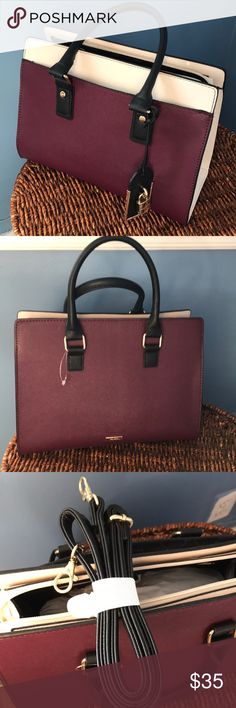 Aldo Bag with strap and zipper! Never used! ALDO satchel bag. Never used with zipper top. Maroon with cream colored sides and a black handle. Comes with a black shoulder strap too. Smoke/pet free home. Aldo Bags Satchels