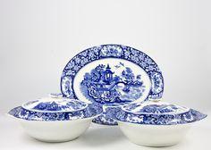 LavishShoestring.com | A set of 2 blue and white porcelain tureens and 1 large dish
