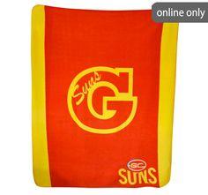 afl-team-logo-polar-fleece-printed-throw-gold-coast-suns Quilt Cover Sets, Polar Fleece, Gold Coast, Team Logo, Sun, Quilts, Printed, Logos, Accessories