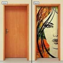 Adesivo Decorativo De Porta - Rosto De Mulher - 402mlpt