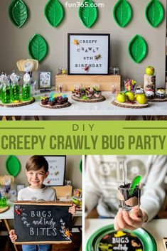 Creepy Crawly Bug Party for all insect enthusiasts! Fun party activities and ide. - Creepy Crawly Bug Party for all insect enthusiasts! Fun party activities and ideas will keep little - Kids Party Themes, Birthday Party Decorations, Kid Party Activities, Toddler Party Ideas, Birthday Centerpieces, 6th Birthday Parties, Birthday Diy, Kids Birthday Party Ideas, Toddler Boy Birthday