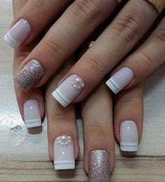 Semi-permanent varnish, false nails, patches: which manicure to choose? - My Nails Acrylic Nail Designs, Nail Art Designs, Acrylic Nails, Coffin Nails, Bridal Nails, Wedding Nails, Love Nails, My Nails, Bling Nails