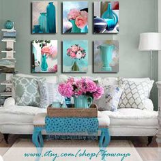 Turquoise And Pink Home Decor Ready To Hang Painting By Zawaya 160 00