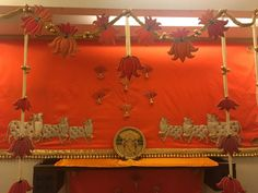 Decoration For Ganpati, Festival Decorations, Chandelier, Ceiling Lights, Doors, Diy, Ideas, Home Decor, Puertas