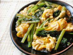 卵と小松菜の甘酢炒めの画像