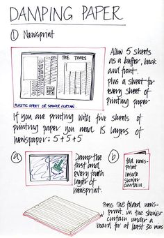 : : Laura Boswell - Printmaker - Basic rules for Japanese Woodblock Printing : :Damping paper - good advice for any delicate printmaking paper.