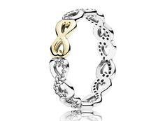 Anel Prata com Ouro Infinito Amor - Bem-vindo - Pandora Joias
