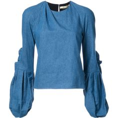 Hellessy Sage butterfly sleeve blouse (3,315 MYR) ❤ liked on Polyvore featuring tops, blouses, blue, blue top, hellessy, blue blouse, butterfly sleeve blouse and butterfly sleeve top