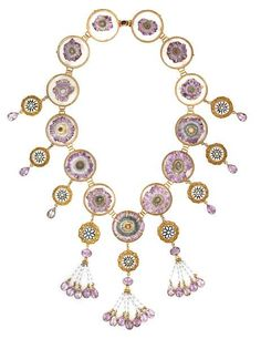 Tony Duquette (American, 1914-1999), 'Symbolizes the Beauty Found in Nature', 1990s. An amethyst, inlaid shell, quartz, plastic and vermeil necklace, signed Tony Duquette 1995. length 24in (61cm). Sold for $5,490
