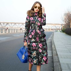 Find More Down & Parkas Information about Newest Fashion Style Winter Women Jackets X Long Full Sleeve Floral Print Feather Hat Floral Print Down Women Coat Free Shipping,High Quality coat pink,China coated glossy Suppliers, Cheap hat coat hook from Olivia Trading Co., Ltd. on Aliexpress.com Winter Jackets Women, Coats For Women, New Fashion, Winter Fashion, Cheap Hats, Feather Hat, Down Parka, Floral Prints, China