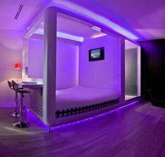 Modern purple bed with Nature's Sleep Memory Foam Mattress