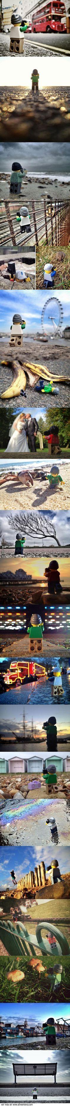 Andrew Whyte pasó 365 días tras este pequeño fotógrafo LEGO y tomo estas fotografías. @ www.elmemeno.com