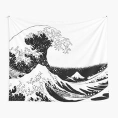 Great Wave Monochrome • Millions of unique designs by independent artists. Find your thing. Tapestry Bedroom, Wall Tapestries, Tapestry Wall Hanging, Great Wave Off Kanagawa, Black And White Aesthetic, Wall Prints, Photo Wall Art, Monochrome, Wall Decor