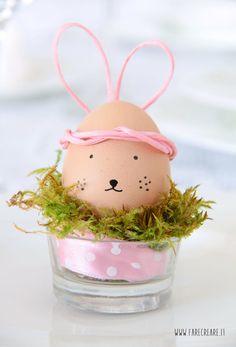 Coniglio o uovo sodo? Un simpatico centrotavola segnaposto per Pasqua.