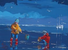 JP DOUCHEZ Peinture huile sur toile tableau au couteau Drouot Enfants parapluie in Art, antiquités, Art du XXème, contemporain, Peintures | eBay