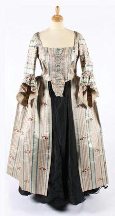 Floral silk open robe, mid-18th century.