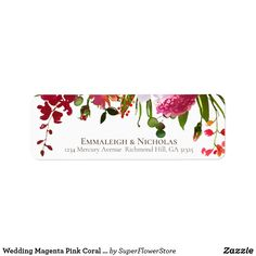 Shop Wedding Magenta Pink Coral Floral Address Label created by SuperFlowerStore.