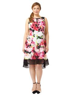 Sleeveless Colorblock Swing Dress by Adrianna Papell, Available in sizes 10/12 and 14W-24W