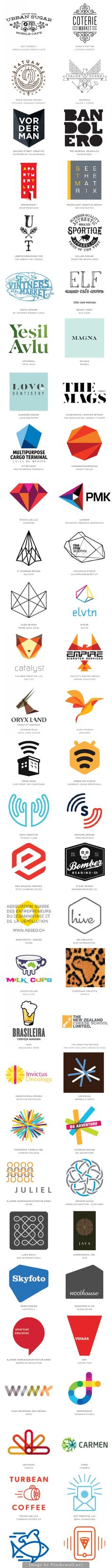 Logo Design Trends for 2014 (Mono Crest, Letter Stacks, Hand Type, Dazzle, Flat Facets, Geo Wires, Trans Menagerie, Waves, Hexagons, Geography, Pompons, Knit, States, Links,and Motion Lines)