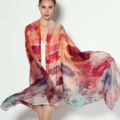 Luxusné hodvábne šále a ručne maľované šále z prírodného hodvábu. Potešte seba i svojich blízkych originálnym hodvábnym výrobkom Red Fashion, Womens Fashion, Style Fashion, Shawls And Wraps, Scarf Wrap, Kimono Top, Cover Up, Silk, Stylish