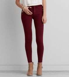 f9d56cc512cff AEO Knit X Jegging, Burgundy | American Eagle Outfitters Maroon Leggings,  Maroon Jeans,