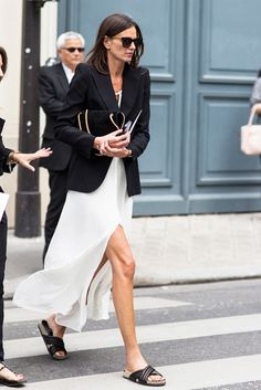 Give a casual spin to a long dress with a menswear blazer and Birkenstocks