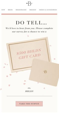 Email Design Inspiration, Email Gift Cards, Bhldn, Free Design, Bridesmaid Dresses, Place Card Holders, Writing, Gifts, Marketing