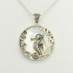 Sterling Silver Mother of Pearl Seahorse Pendant
