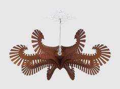 Wooden Chandelier - Large 8 lamp wood pendant lighting, strong light