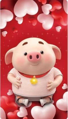 Adorable pig and hearts phone wallpaper