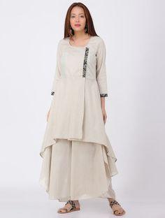 Ecru Cotton Kurta with Ajrakh-printed Trims